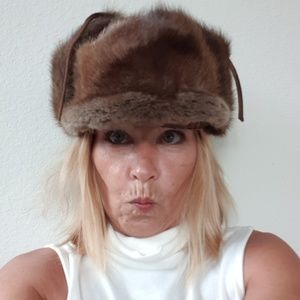Vintage fur hat with ear flaps